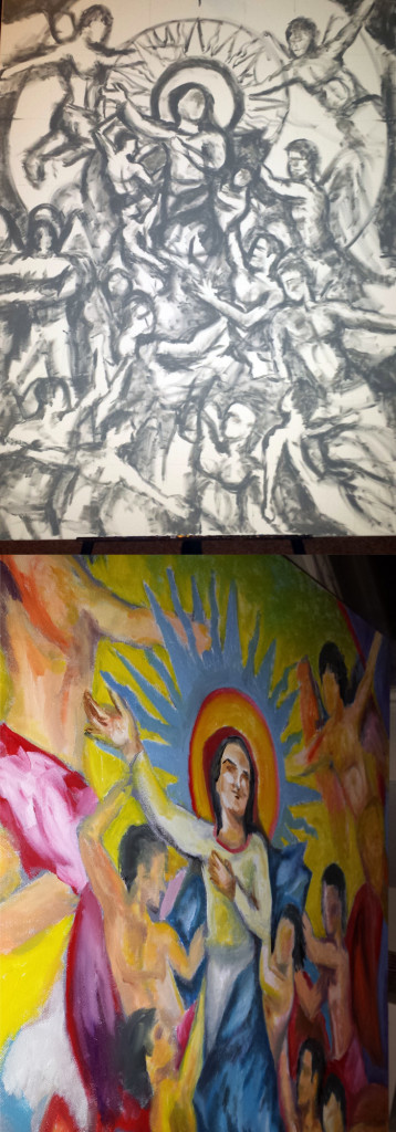 Original acrylic Grisaille and then color progress on the painting